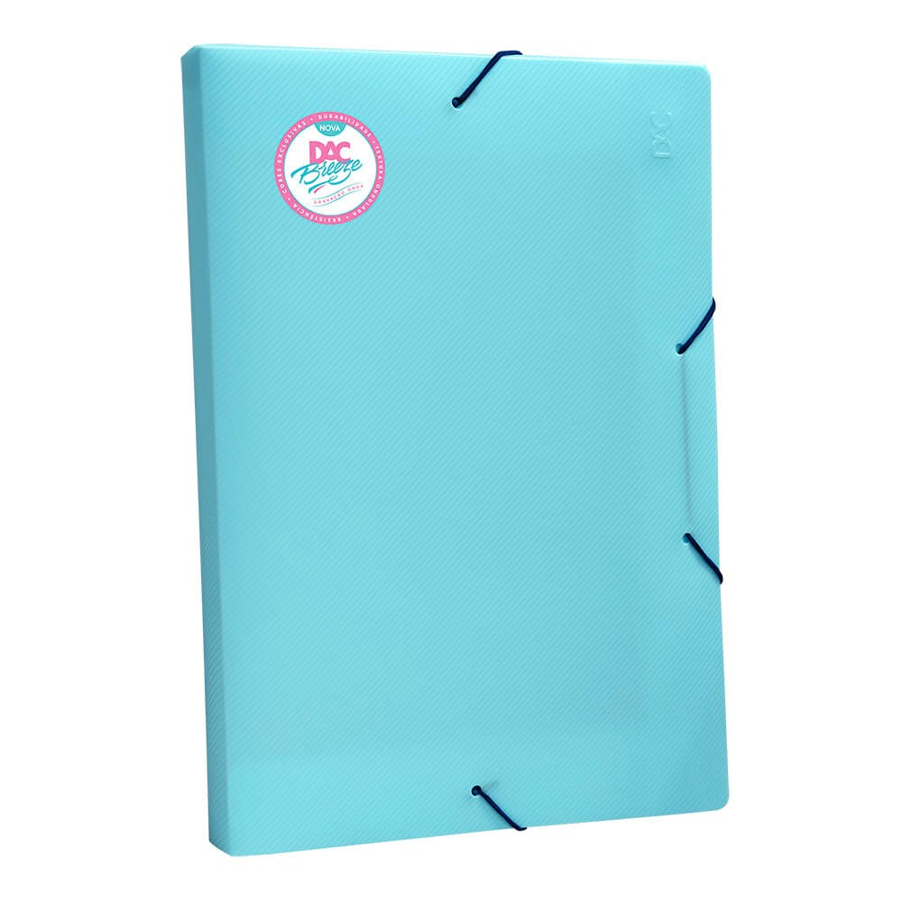 Pasta Aba Elástica Ofício com Lombo de 20 cm Azul DAC Breeze - 802PP-AZ