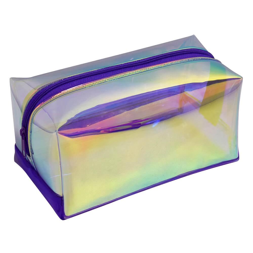 Estojo escolar DAC em PVC Cristal holográfico Magic Roxo