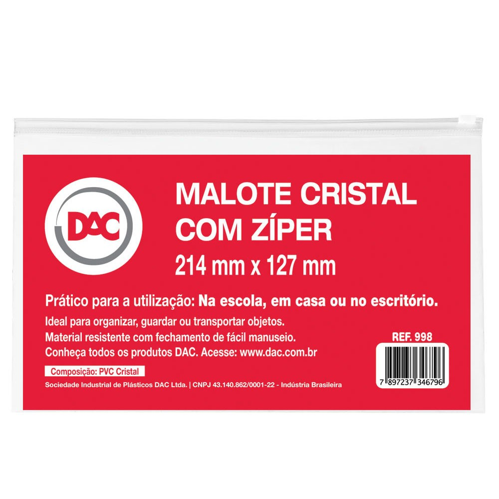 Malote Cristal com Zíper 21,4 x 12,7 cm