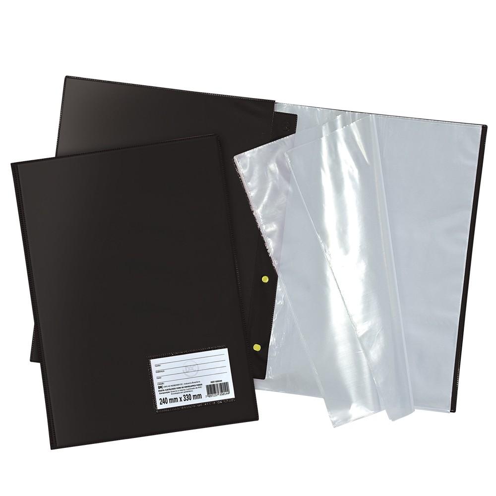 Pasta Catálogo Ofício DAC Preta com 100 Envelopes Finos