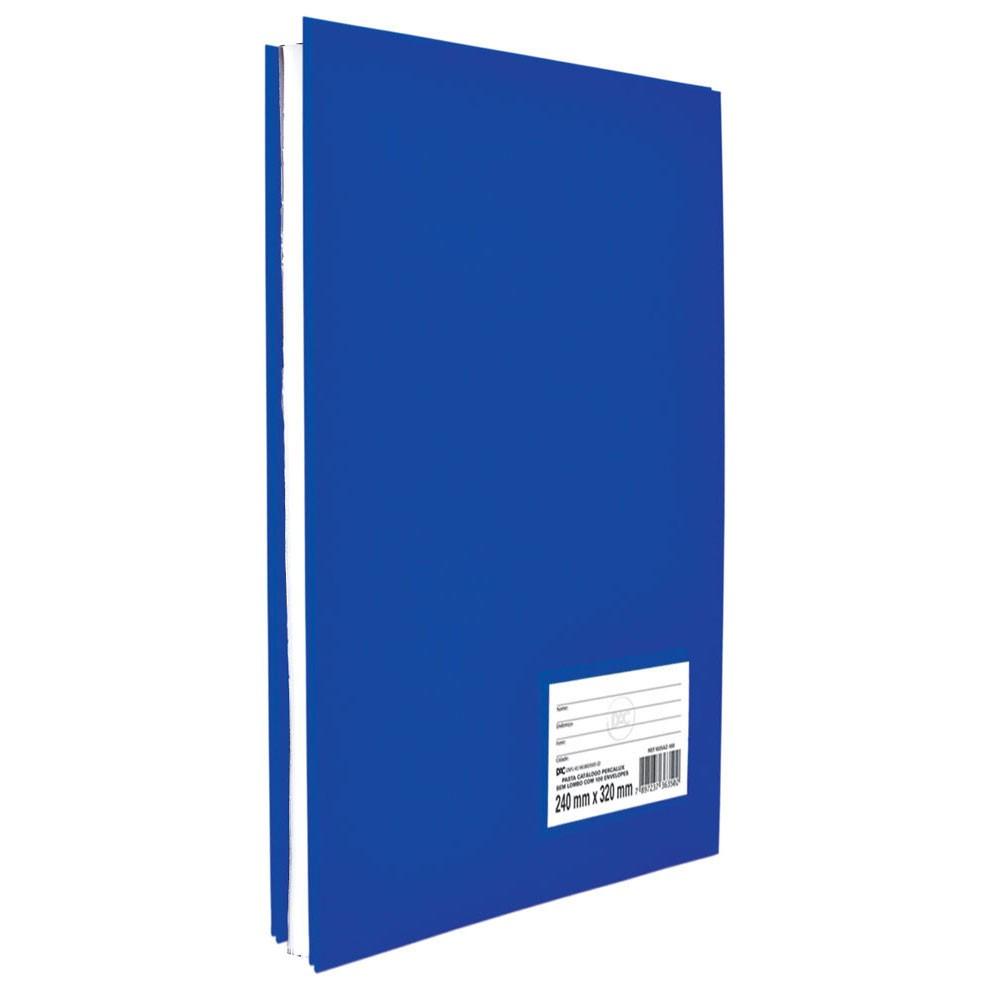 Pasta Catálogo Ofício sem Lombo DAC Percalux Azul com 10 Envelopes Médios