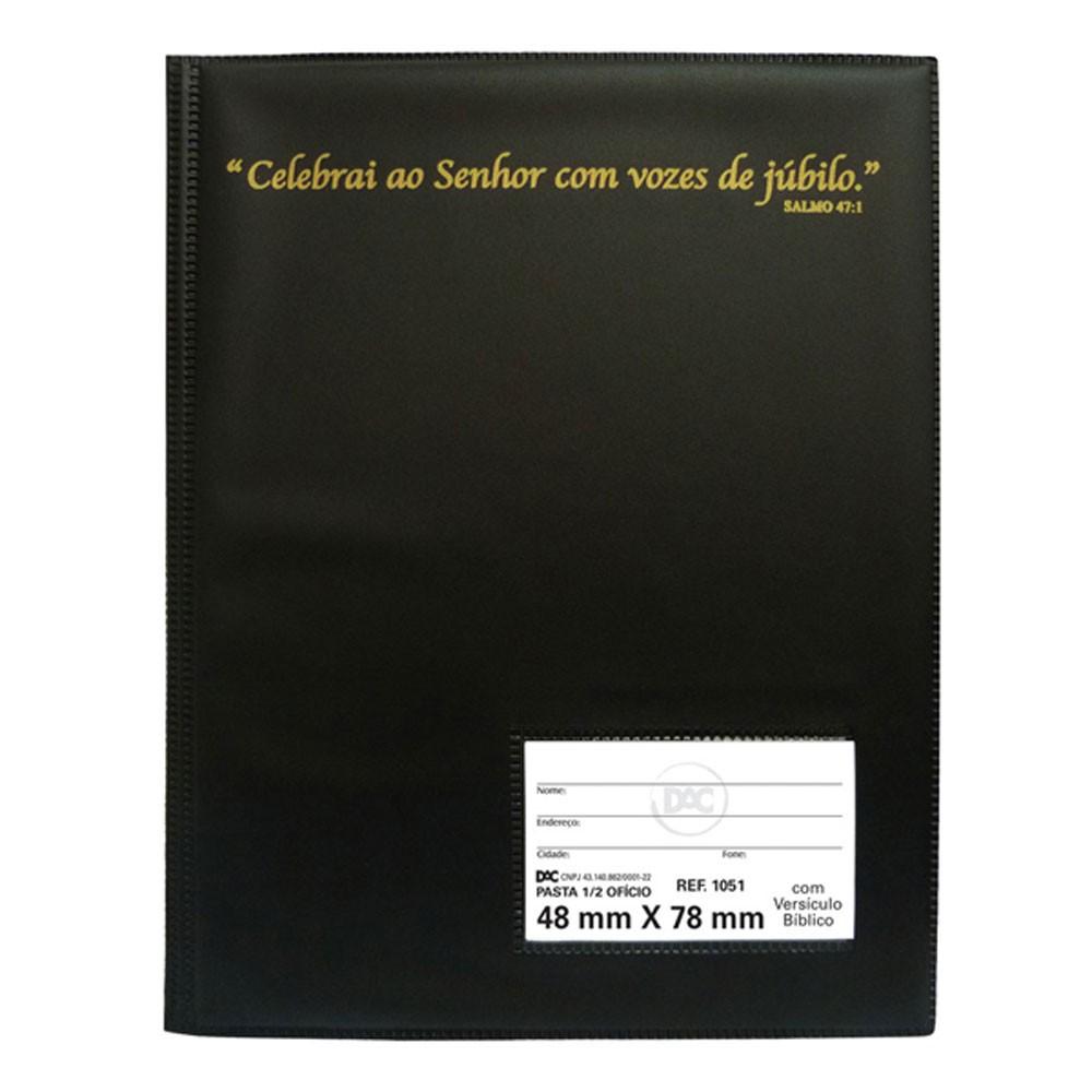 Pasta Hinário com Versículo Bíblico 1/2 Ofício DAC Preta com 10 Envelopes Finos