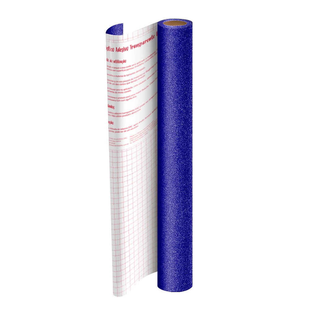 Rolo de Plástico Adesivo Azul com Glitter DAC 45 cm x 2 mt - 1711AZ
