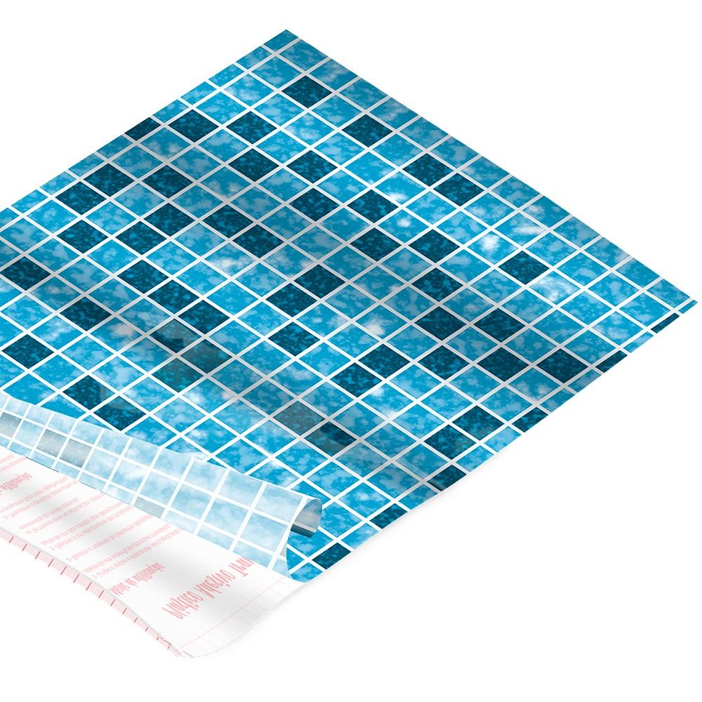 Rolo de Plástico Adesivo Ladrilho Azul DAC 45 cm x 2 mt -171201