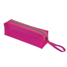 Estojo escolar DAC em PVC Cristal Translúcido Neon Rosa