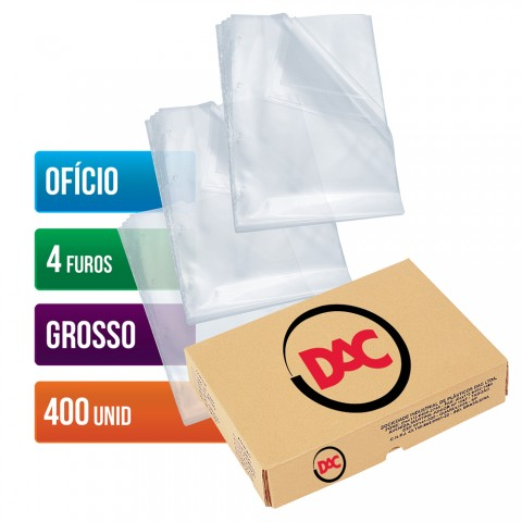 Envelope Plástico DAC Ofício com espessura Grosso e 4 Furos - 400 unid