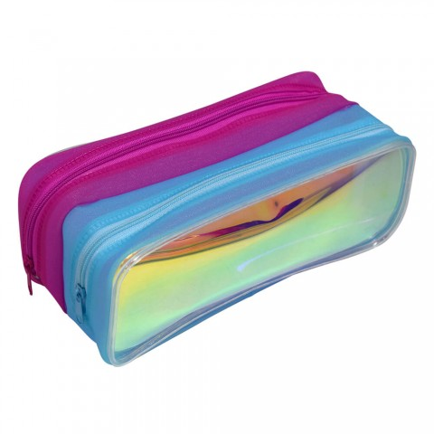 Estojo Escolar DAC em PVC Cristal Holográfico Duplo Neon - E216AZ