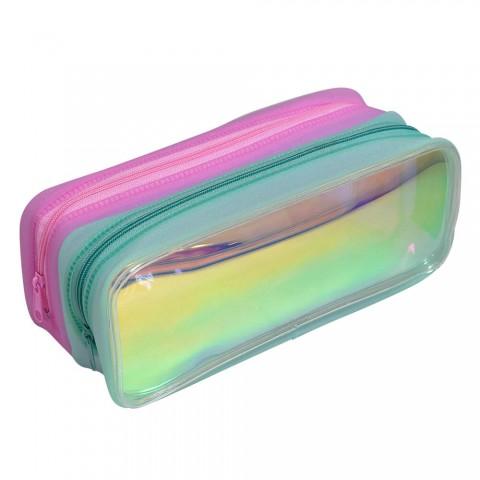 Estojo Escolar DAC em PVC Cristal Holográfico Duplo Neon - E216VD