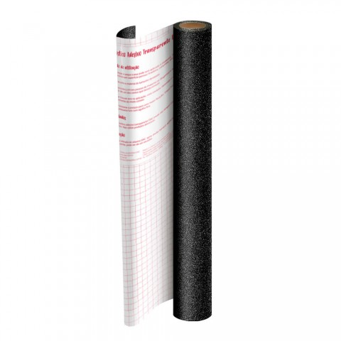 Adesivo Plástico Preto com Glitter 45 cm x 10 mt - 1703PR