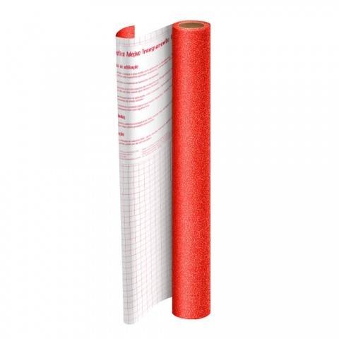 Adesivo Plástico Vermelho com Glitter 45 cm x 10 mt - 1703VM