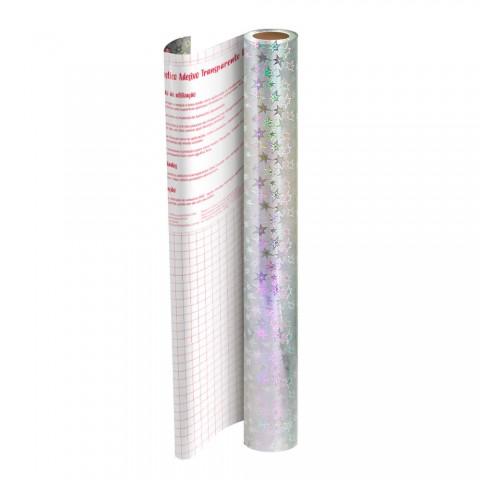 Adesivo Plástico Holográfico Estrela 45 cm x 10 mt - 1706CL