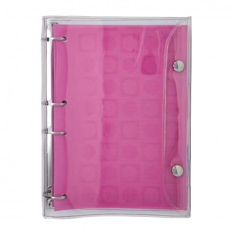 Fichário 1/4 Cristal Rosa Basic com 192 Folhas