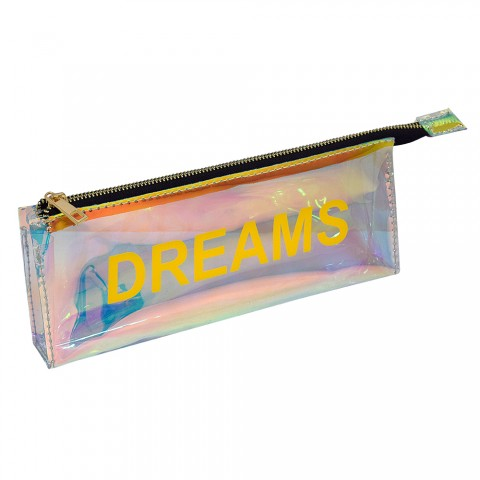 Estojo escolar DAC em PVC Cristal holográfico Words Dreams