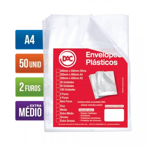 Envelope Plástico DAC A4 com espessura Extra Médio e 2 Furos - 50 unid