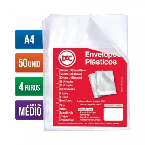 Envelope Plástico DAC A4 com espessura Extra Médio e 4 Furos - 50 unid