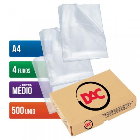 Envelope Plástico DAC A4 com espessura Extra Médio e 4 Furos - 500 unid