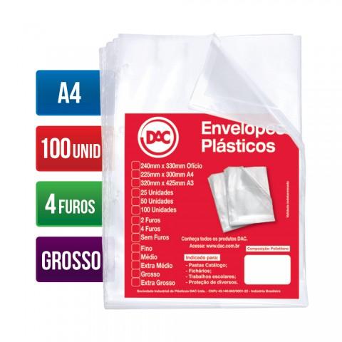 Envelope Plástico DAC A4 com espessura Grossa e 4 Furos - 100 unid