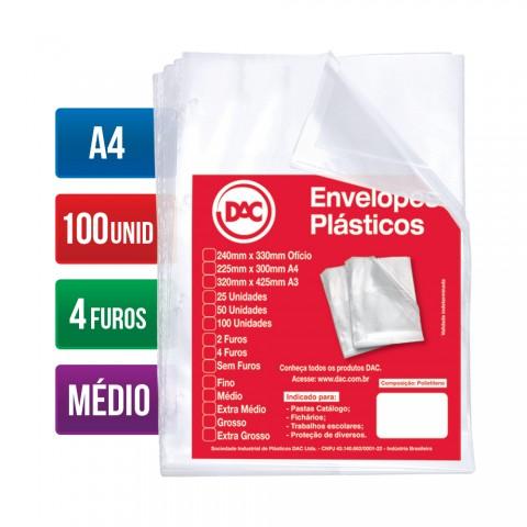 Envelope Plástico DAC A4 com espessura Média e 4 Furos - 100 unid