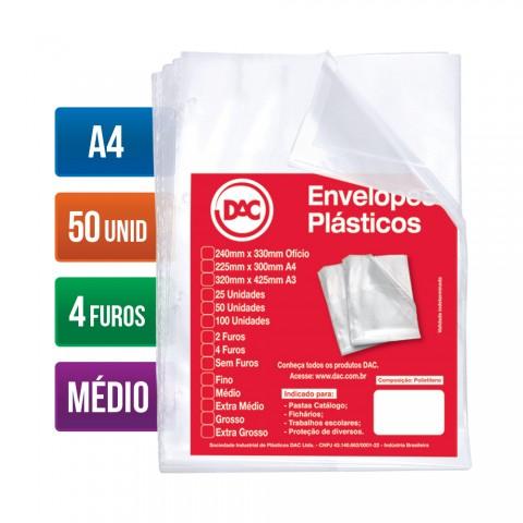 Envelope Plástico DAC A4 com espessura Média e 4 Furos - 50 unid