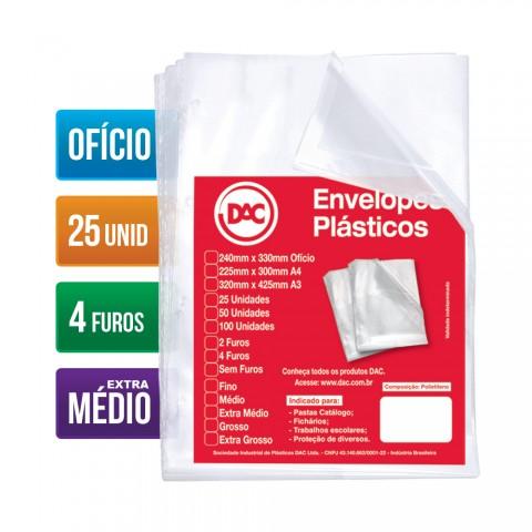 Envelope Plástico DAC Ofício com espessura Extra Médio e 4 Furos - 25 unid
