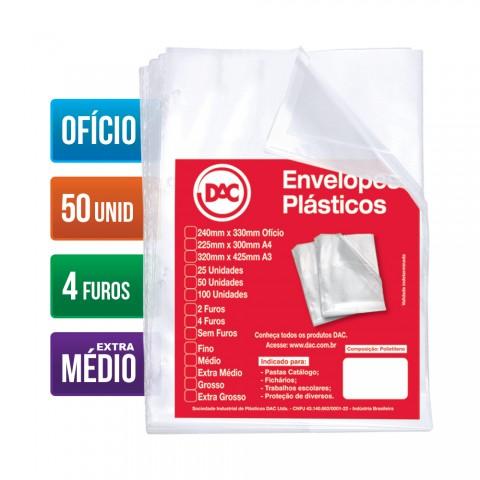 Envelope Plástico DAC Ofício com espessura Extra Médio e 4 Furos - 50 unid