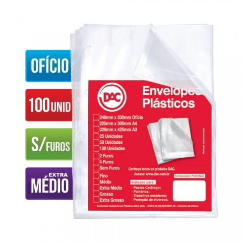 Envelope Plástico DAC Ofício com espessura Extra Médio e sem Furos - 100 unid