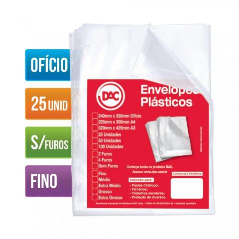 Envelope Plástico DAC Ofício com espessura Fino e sem Furo - 25 unid
