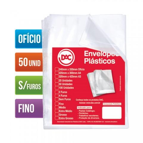 Envelope Plástico DAC Ofício com espessura Fino e sem Furo - 50 unid