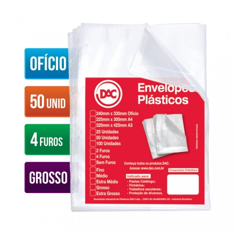 Envelope Plástico DAC Ofício com espessura Grossa e 4 Furos - 50 unid - 5076-50