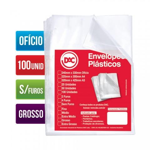 Envelope Plástico DAC Ofício com espessura Grossa e sem Furos - 100 unid