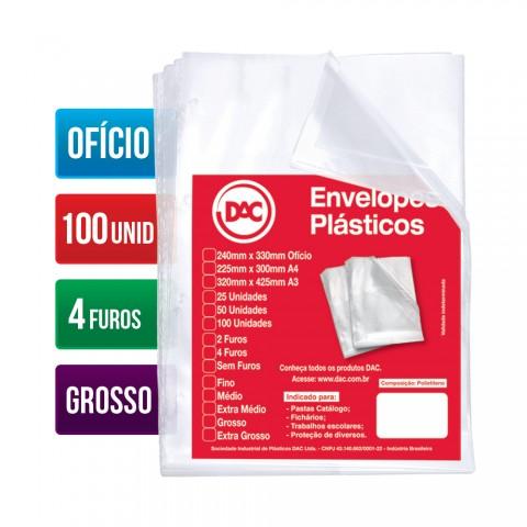 Envelopes Plásticos DAC Ofício com espessura Grossa e 4 Furos - 100 unid