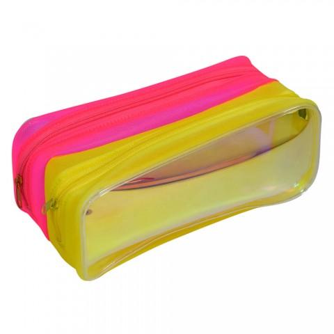 Estojo Escolar DAC em PVC Cristal Holográfico Duplo Neon - E216AM