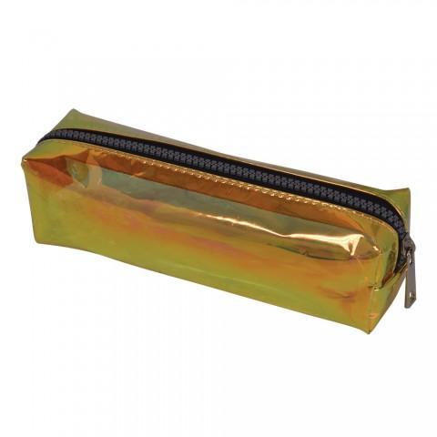 Estojo escolar DAC em PVC Cristal holográfico Gloss Amarelo