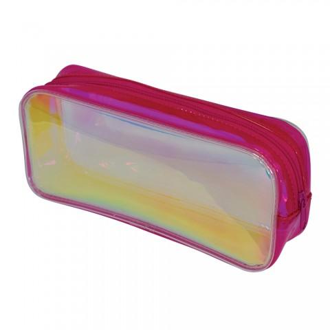 Estojo escolar DAC em PVC Cristal holográfico Glow Rosa