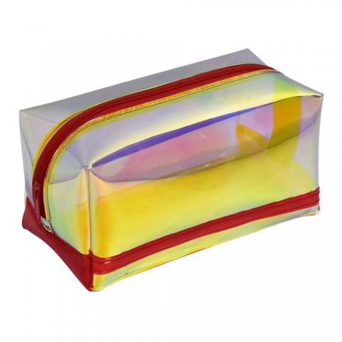 Estojo escolar DAC em PVC Cristal holográfico Magic Vermelho