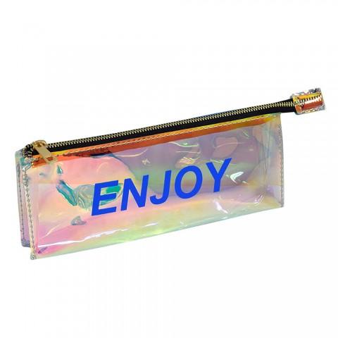 Estojo escolar DAC em PVC Cristal holográfico Words Enjoy