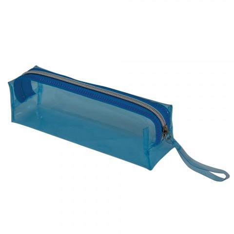 Estojo escolar DAC em PVC Cristal Translúcido Neon Azul