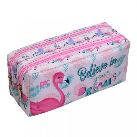 Estojo escolar duplo em tecido DAC Trendy Flamingo - 3027