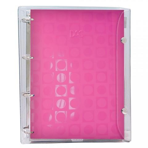 Fichário universitário Basic Cristal Rosa com 192 folhas