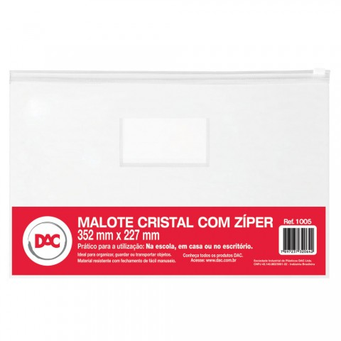 Malote Cristal com Zíper 35,2 x 22,7 cm
