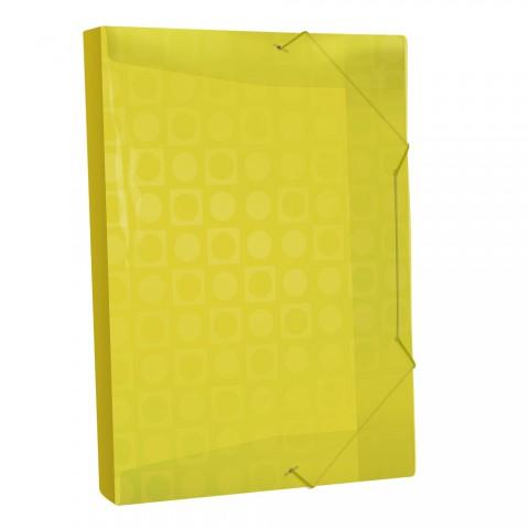 Pasta Aba Elástica Ofício com lombo de 3 cm Amarelo Vision