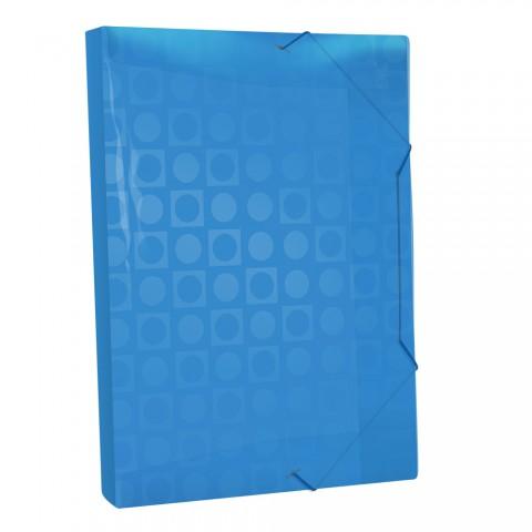 Pasta Aba Elástica Ofício com lombo de 3 cm Azul Vision