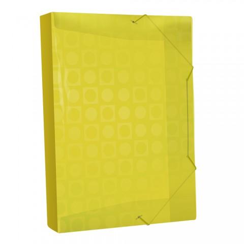 Pasta Aba Elástica Ofício com lombo de 4 cm Amarelo Vision