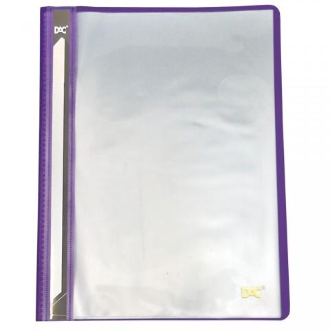 Pasta Catálogo A4 Frente Transparente e Verso Lilás com 10 envelopes