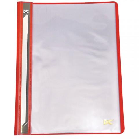 Pasta Catálogo A4 Frente Transparente e Verso Vermelho com 10 envelopes