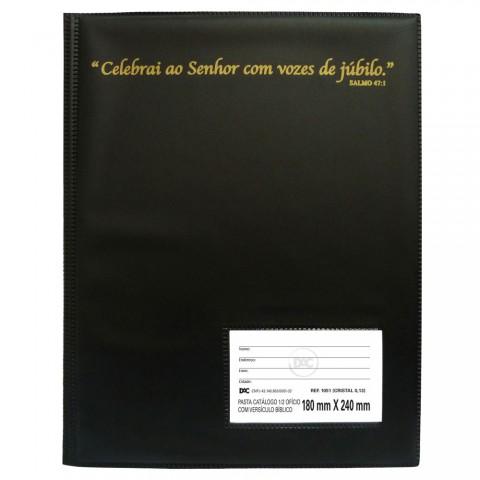 Pasta Hinário com Versículo Bíblico 1/2 Ofício DAC Preta com 50 Envelopes Finos