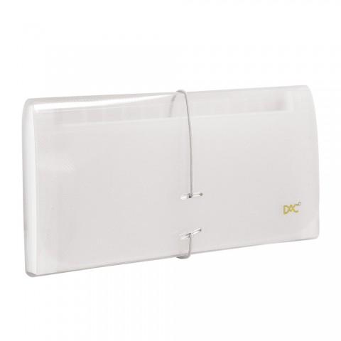 Pasta Sanfonada Porta Cheque com 12 Divisões DAC Transparente Line
