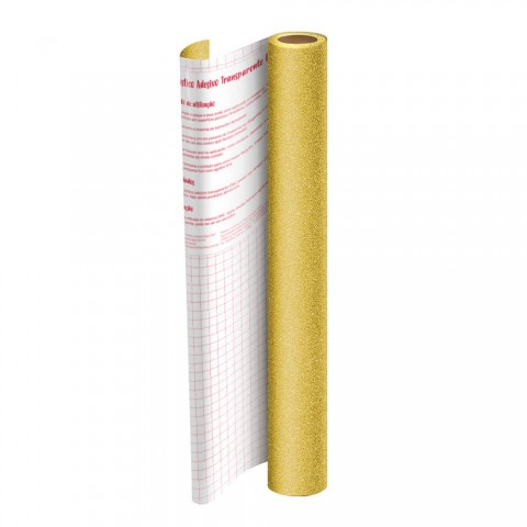 Rolo de Plástico Adesivo Dourado com Glitter DAC 45 cm x 10 mt - 1703DO