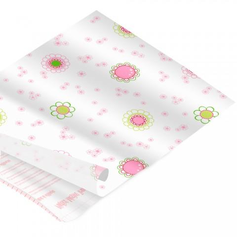 Rolo de Plástico Adesivo Flores no Branco DAC 45 cm x 2 mt - 171214