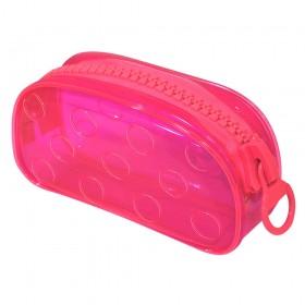 Estojo Escolar DAC Grande em PVC Cristal Translúcido BUBBLE Rosa